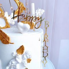 ANGLED HAPPY BIRTHDAY TOPPER(GOLD)