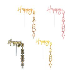 ANGLED HAPPY BIRTHDAY TOPPER(WHITE AND GOLD)